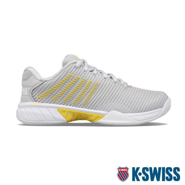 【K-SWISS】透氣輕量網球鞋 Hypercourt Express 2-女-灰/黃(96613-038)