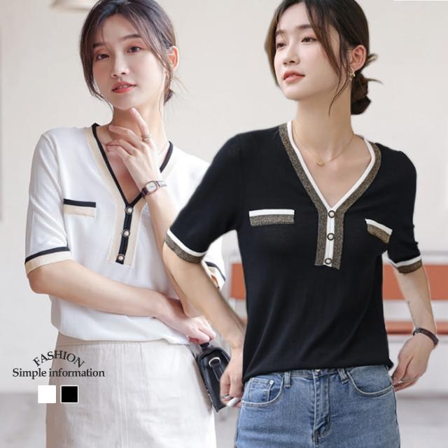 【Alishia】薄款小香風冰絲短袖針織上衣 M-XL(現+預 白色 / 黑色)