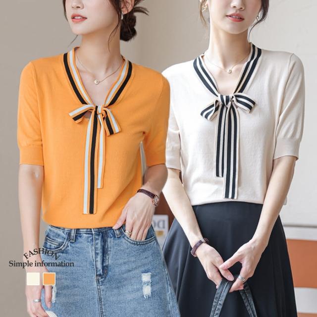 【Alishia】新款寬鬆蝴蝶飄帶冰絲V領針織上衣 M-XL(現+預 杏色 / 橘紅)