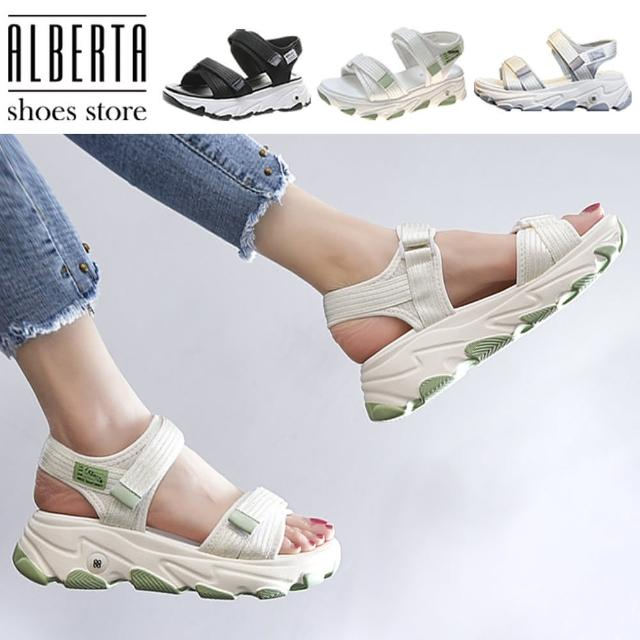 【Alberta】5cm涼鞋 休閒運動風網布透氣 編織楔型厚底涼拖鞋 魔鬼氈