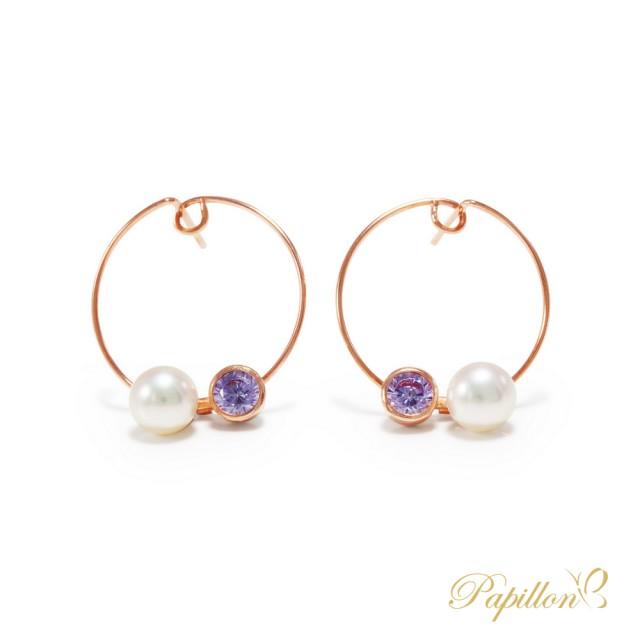 【法蝶珠寶】14K玫瑰金天然淡水珍珠造型耳環(輕珠寶熱銷推薦)