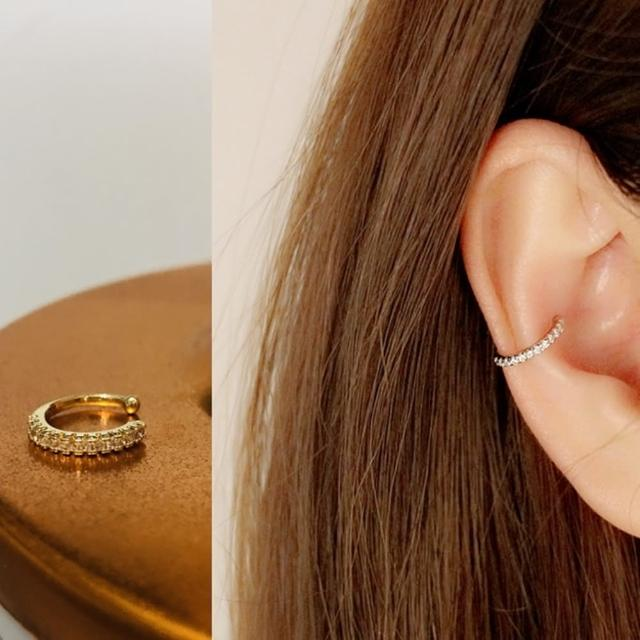 【Oni 歐妮】個性 小水鑽耳骨夾式耳環無耳洞耳扣耳夾耳窩夾-C型-交叉-樹葉(3個入)