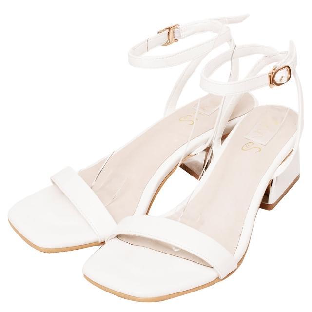 【Ann'S】不踩雷美腿製造機一字帶涼鞋-訂製金屬夾心粗跟-細帶4公分(白)