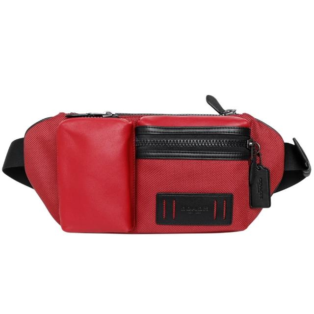 【COACH】帆布拼接真皮雙口袋男士腰包(紅色黑邊)
