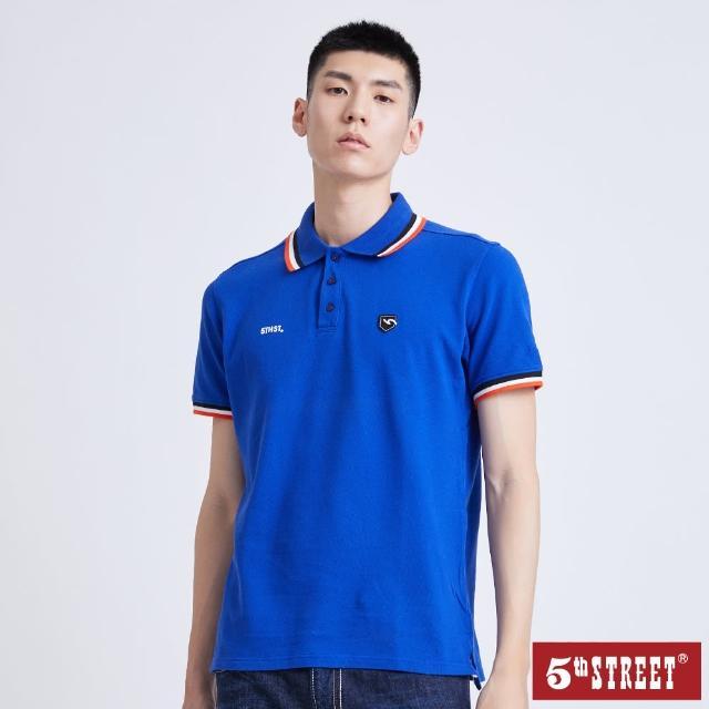 【5th STREET】男配色素面短袖POLO衫-土耳其藍