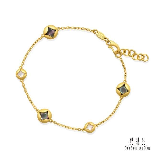 【點睛品】足金9999 黑白貝母 時尚黃金貝母手鍊