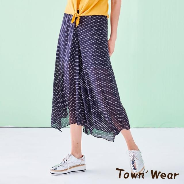 【TOWN'WEAR 棠葳】迷你方塊印花寬襬褲