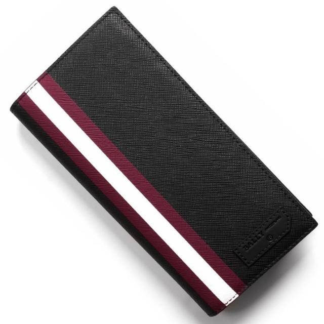 【BALLY】黑色PVC拉鍊零錢袋八卡對開長夾(長夾)