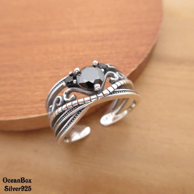 【海洋盒子】復古薰黑波紋圖騰黑鋯石925純銀開口式戒指(925純銀戒指可調整戒圍)
