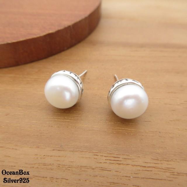 【海洋盒子】復古雕紋質感珍珠925純銀耳環(925純銀耳環.貼耳耳環)