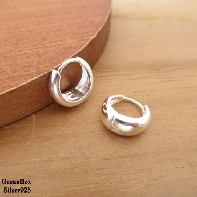【海洋盒子】簡單質感亮面環圈造型925純銀針式易扣耳環.素銀色(925純銀圈圈耳環)