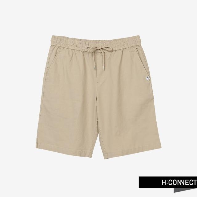 【H:CONNECT】韓國品牌 男裝 -純色綁帶鬆緊休閒短褲(卡其色)