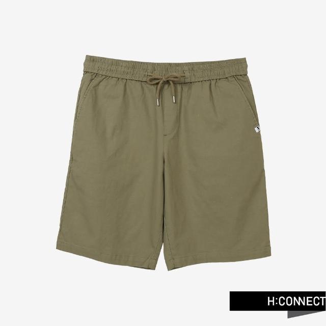 【H:CONNECT】韓國品牌 男裝 -純色綁帶鬆緊休閒短褲(橄欖綠)