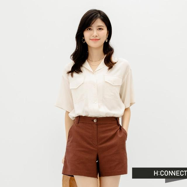 【H:CONNECT】韓國品牌 女裝 -簡約素色西裝短褲(棕色)