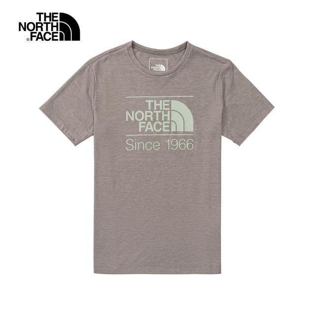 【The North Face】The North Face北面女款灰色吸濕排汗LOGO印花短袖T恤|4UB7X7K