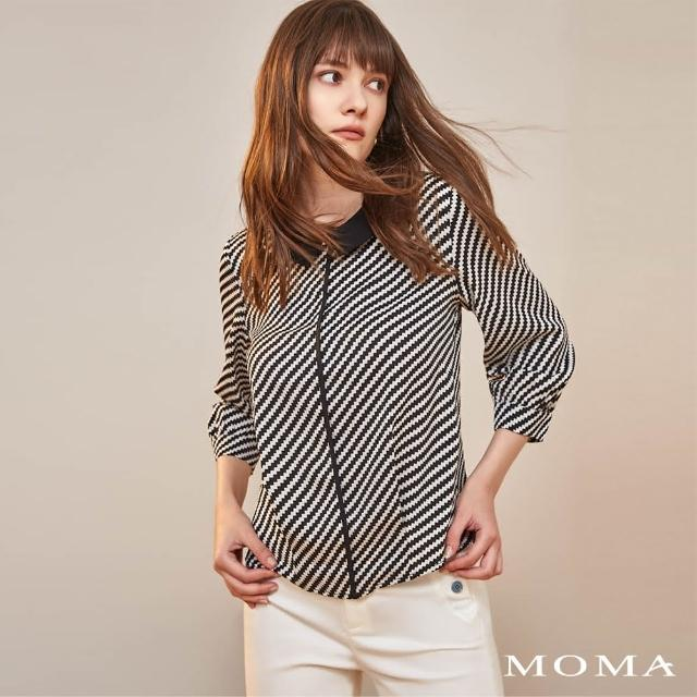 【MOMA】黑白錯視後開釦設計上衣(黑色)