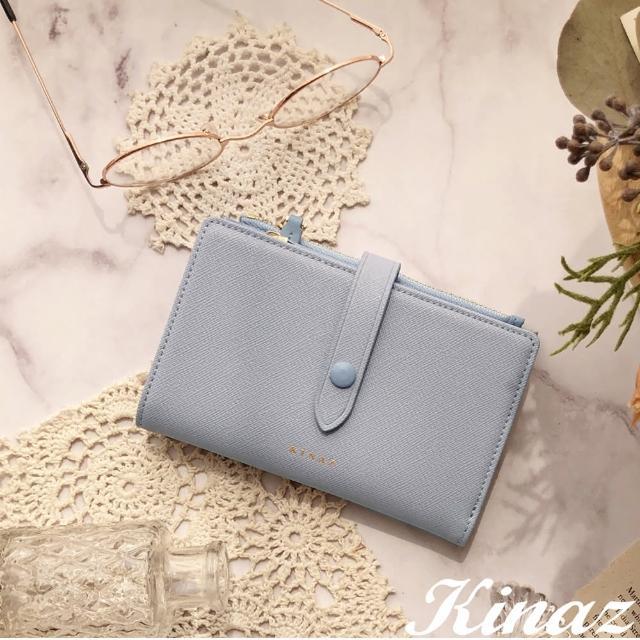 【KINAZ】雙拉鍊包扣防刮紋真皮中夾-琉璃藍-糖梅仙子系列