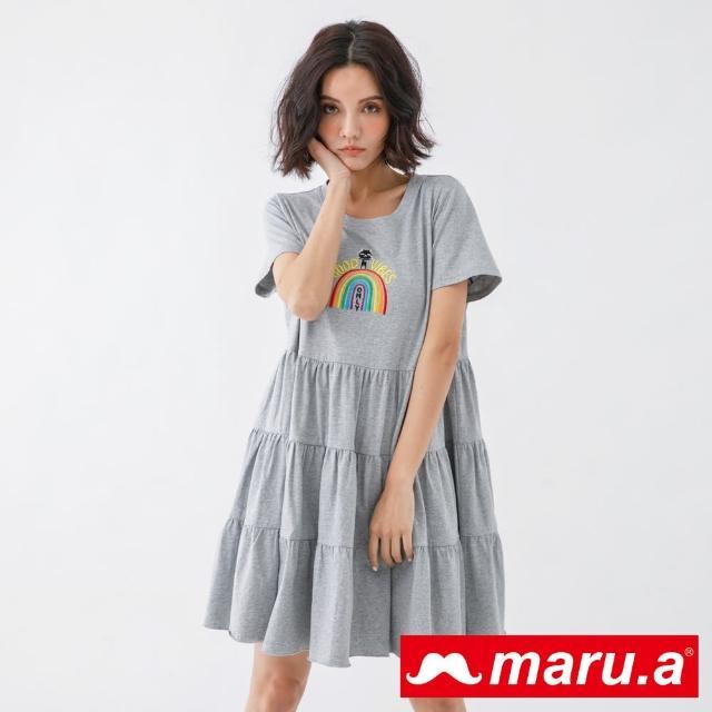 【maru.a】一道彩虹蛋糕裙擺短袖洋裝(灰色)