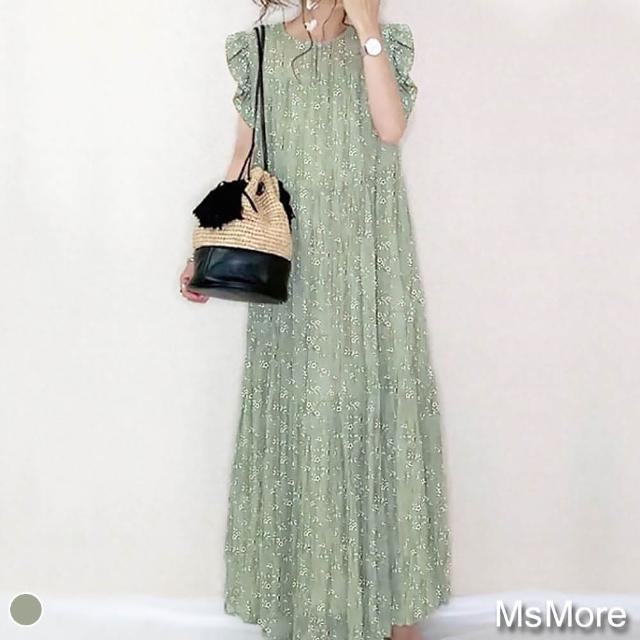 【MsMore】吸睛迷人薄荷碎花荷葉小袖寬鬆長洋裝#109445 現貨+預購(綠色)