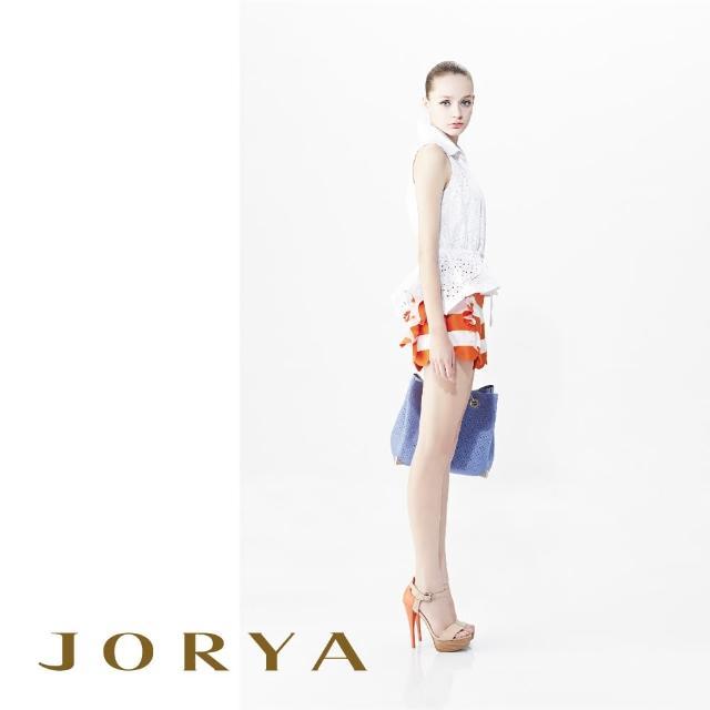 【JORYA】G1201902花瓣條紋荷葉邊桑蠶絲短褲