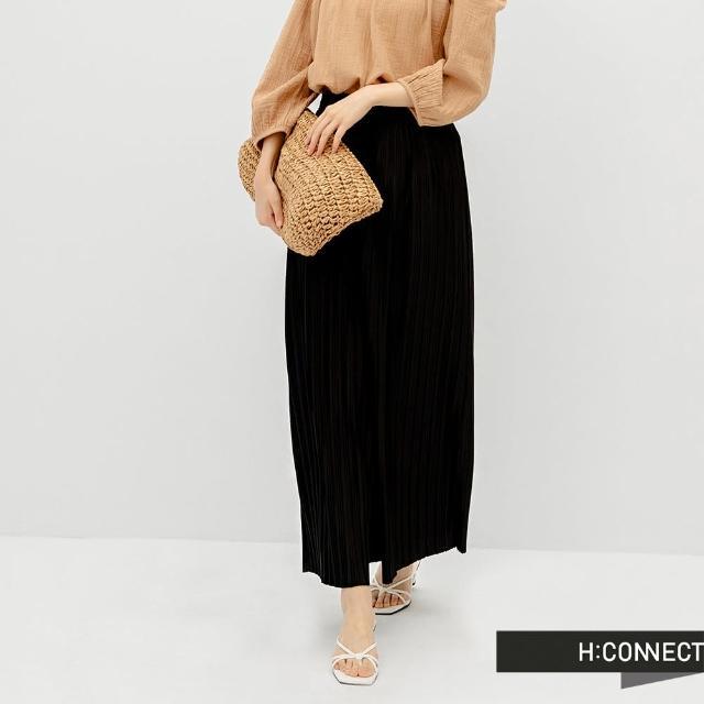 【H:CONNECT】韓國品牌 女裝 -純色立體壓褶寬褲(黑色)