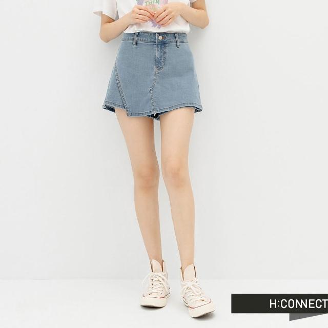 【H:CONNECT】韓國品牌 女裝 -率性純色牛仔褲裙(藍色)