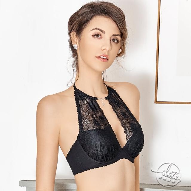 【Lady】花影情挑系列 蕾絲深線削肩裸背內衣 C-E罩(誘惑黑)