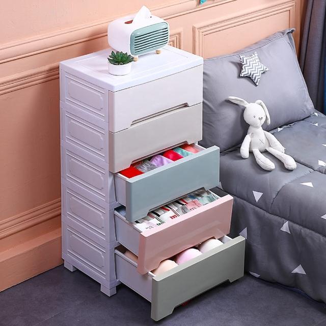 【居家生活Easy Buy】42CM馬卡龍儲物收納櫃-五層(床頭櫃 斗櫃 收納櫃)