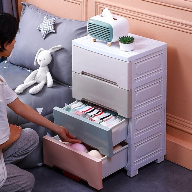 【居家生活Easy Buy】42CM馬卡龍儲物收納櫃-四層(床頭櫃 斗櫃 收納櫃)