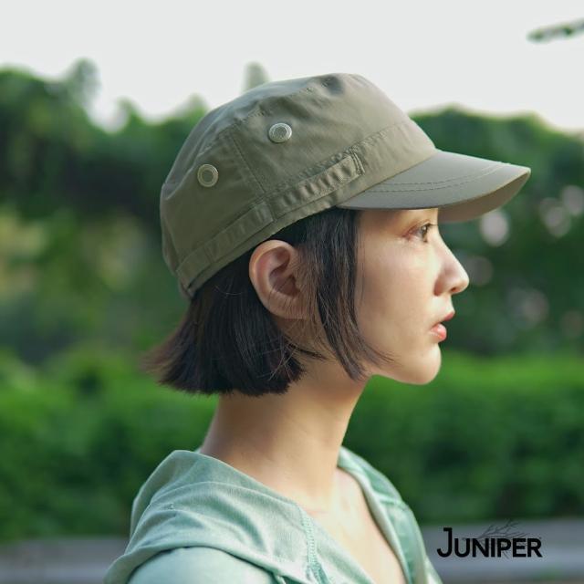 【Juniper 朱尼博】防曬抗UV防潑水平頂休閒軍人帽 MJ7217(帽子/鴨舌帽/平頂帽/休閒帽)
