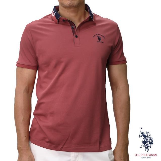 【U.S. POLO ASSN.】領口設計短袖POLO衫-西瓜紅(經典設計)