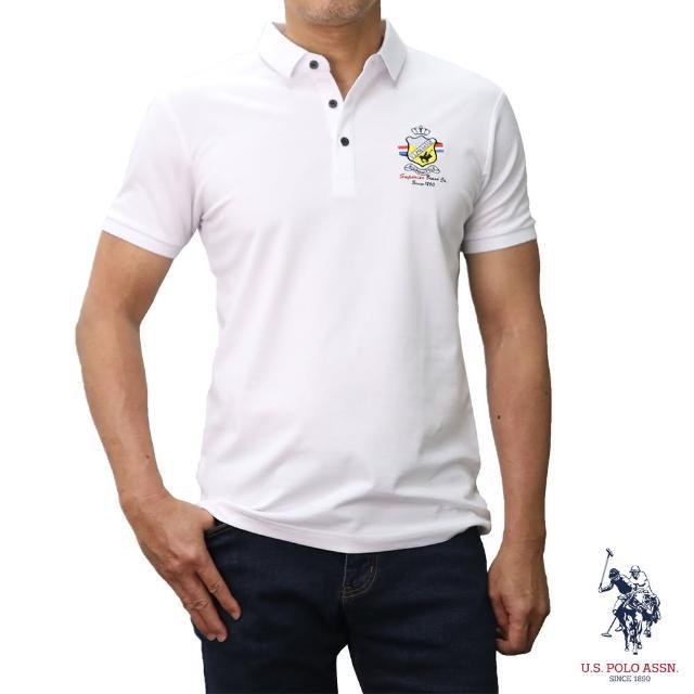 【U.S. POLO ASSN.】簡約徽章短袖POLO衫-純白色(經典LOGO)