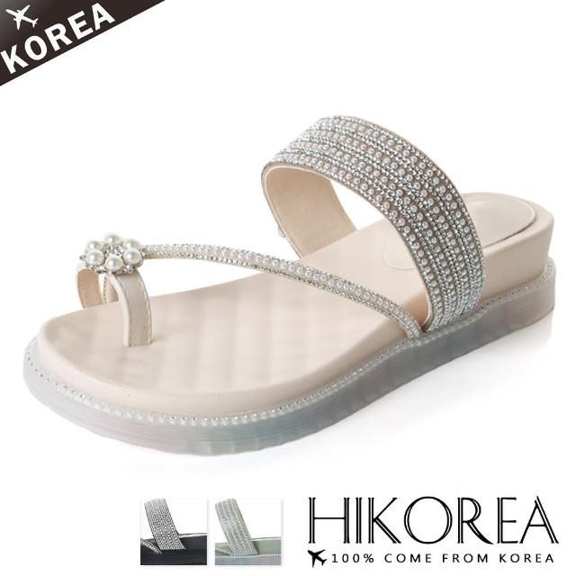 【HIKOREA】韓國空運/版型正常。美型時代套指滿版水鑽厚底舒壓涼拖鞋(71-3266三色/現貨+預購)