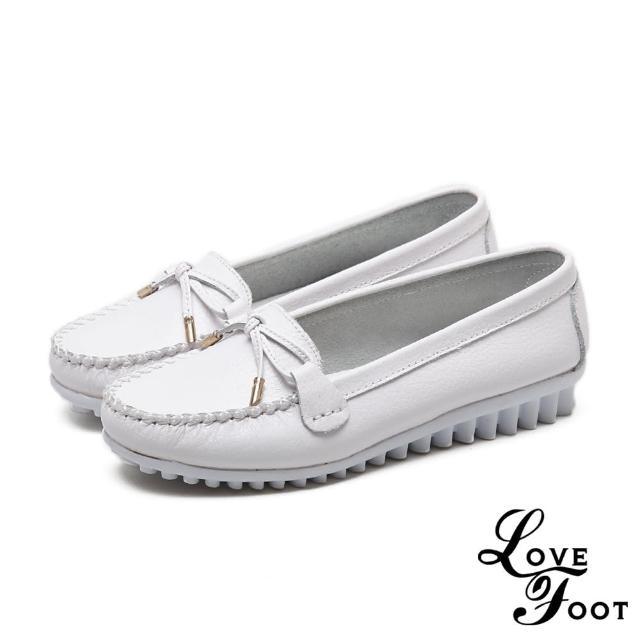 【LOVE FOOT 樂芙】真皮甜美蝴蝶結綁帶造型舒適軟底豆豆鞋(白)