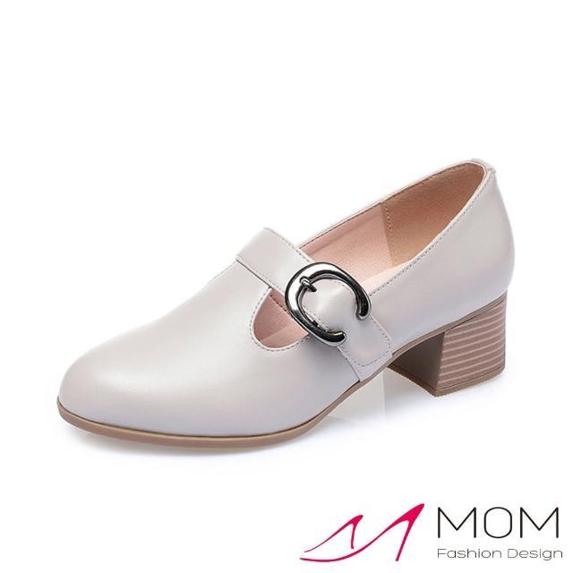 【MOM】真皮跟鞋 粗跟鞋/真皮細緻牛皮百搭優雅T字搭釦深口粗跟鞋(淺灰)