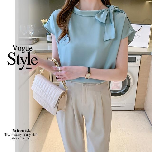 【DU 快時尚】時尚款蝴蝶結領口純色造型上衣(M-XL)
