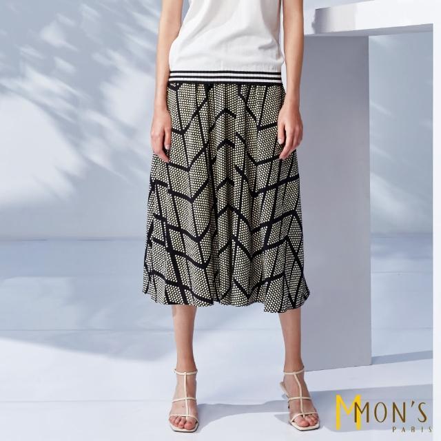 【MON'S】時尚點點條紋印花彈性長裙