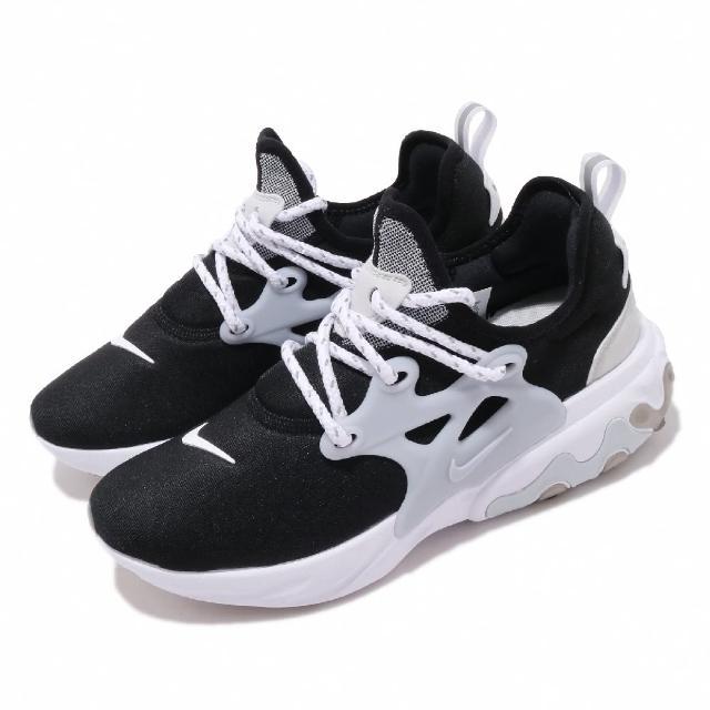 【NIKE 耐吉】休閒鞋 React Presto 襪套 女鞋 輕量 透氣 舒適 魚骨鞋 穿搭 黑白(CD9015-004)