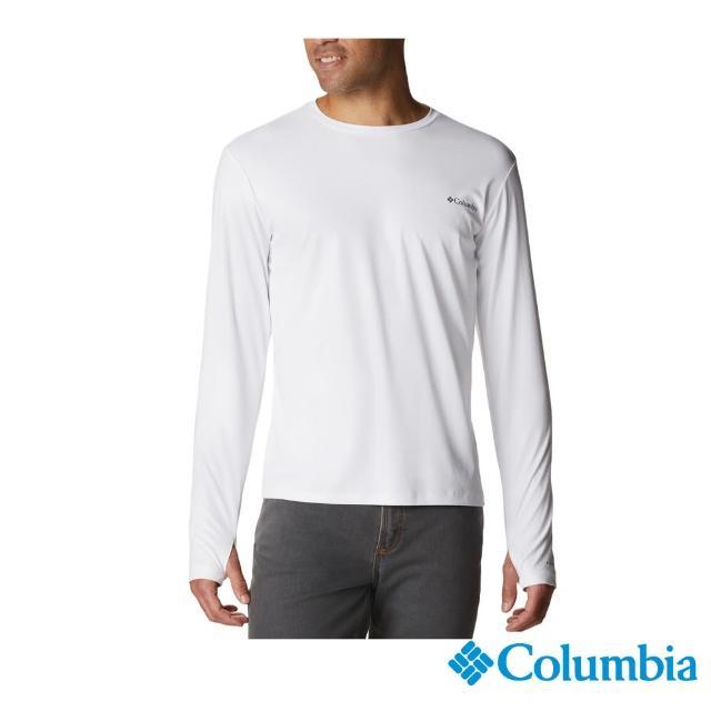 【Columbia 哥倫比亞】男款-UPF50抗曬快排長袖上衣-白色(UAE07580WT / 快排.防曬.休閒)
