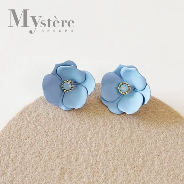 【my stere 我的時尚秘境】925銀針~春夏氣質花朵鑲鑽耳環(水藍 時尚 氣質 花朵 水鑽 925銀針)