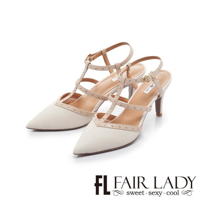 【FAIR LADY】優雅小姐 尖頭魚骨繫帶鉚釘高跟涼鞋(白、402391)