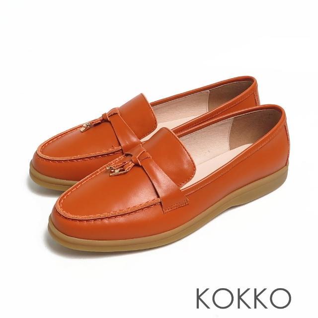 【KOKKO 集團】簡約鎖結彈力彎折輕量牛皮平底休閒鞋(橘色)