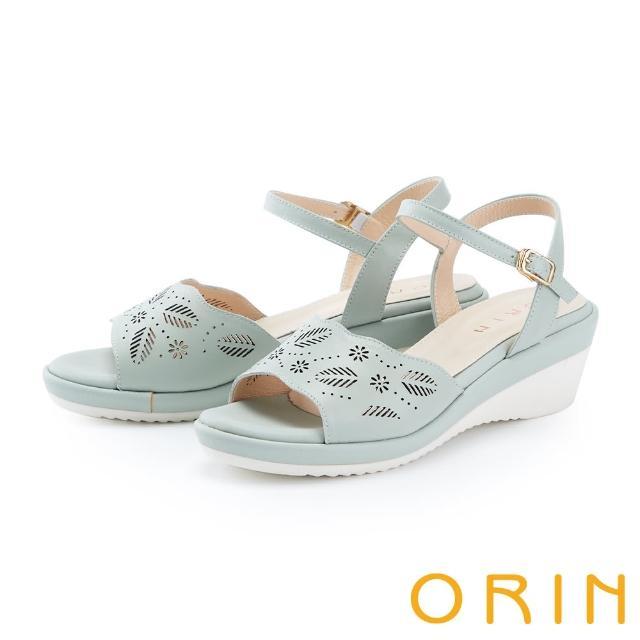 【ORIN】造型簍空一字牛皮楔型 女 涼鞋(綠色)
