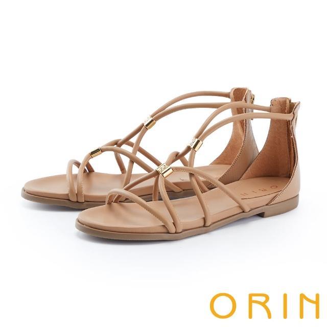 【ORIN】羅馬真皮後包平底 女 涼鞋(棕色)