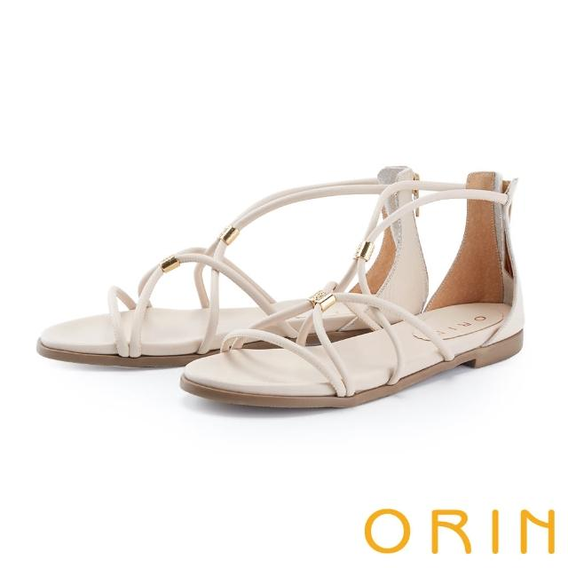 【ORIN】羅馬真皮後包平底 女 涼鞋(米色)