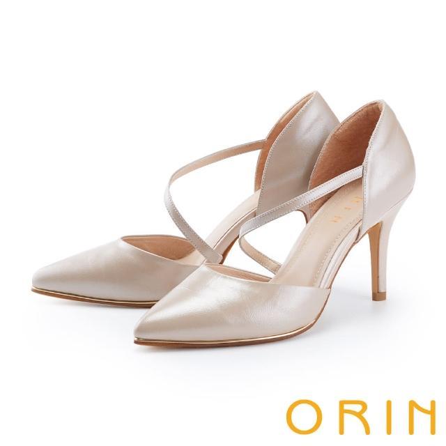 【ORIN】斜帶側空後包尖頭花嫁 女 高跟鞋(裸色)