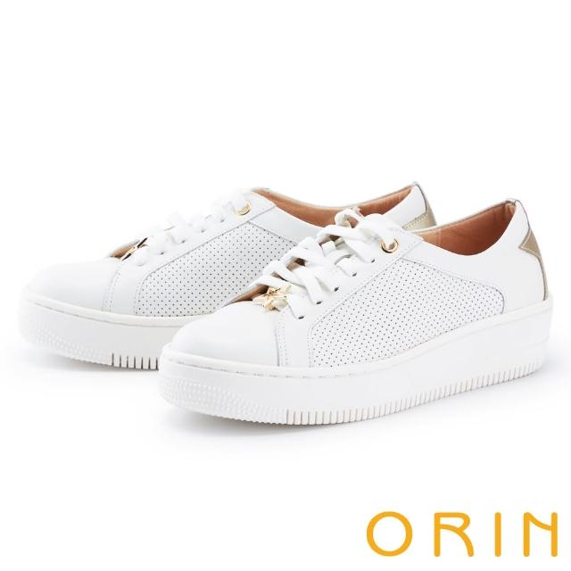 【ORIN】金屬星星真皮綁帶厚底 女 休閒鞋(白色)