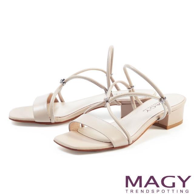 【MAGY】典雅細帶真皮粗低跟 女 涼拖鞋(淺可可)