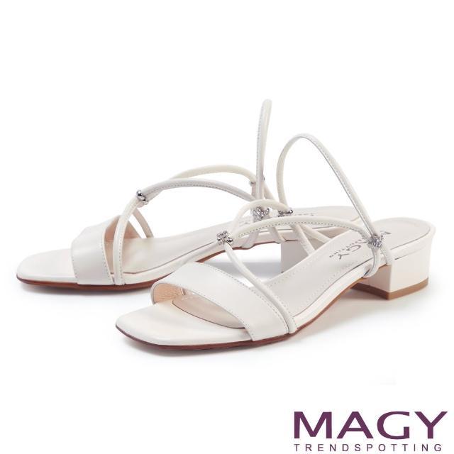 【MAGY】典雅細帶真皮粗低跟 女 涼拖鞋(白色)