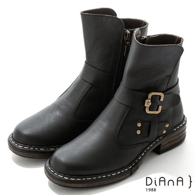 【DIANA】4.5cm 質感牛皮鉚釘皮帶環踝釦飾工程靴-率性自我(黑)